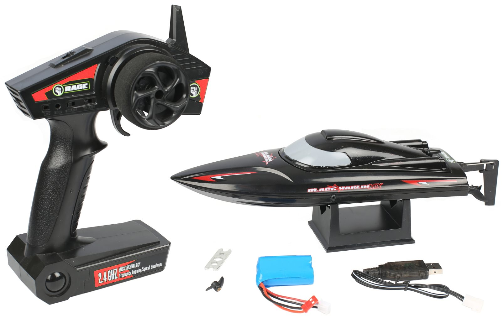 Rage RC Black Marlin Mx Rtr Boat