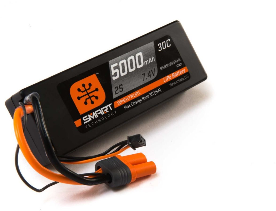 Spektrum 5000mah 2S 7.4V Smart LiPo 30C; Hardcase, IC5