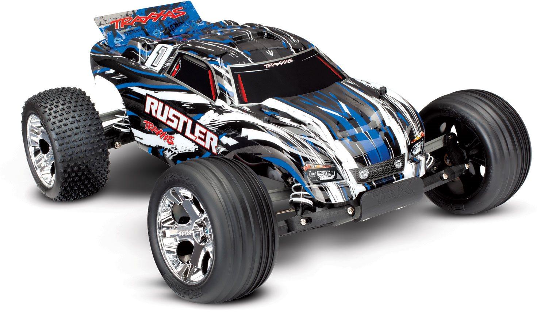 Traxxas Rustler 1/10 Stadium Truck Blue, Rtr W/Id Battery & 4 Amp Peak D