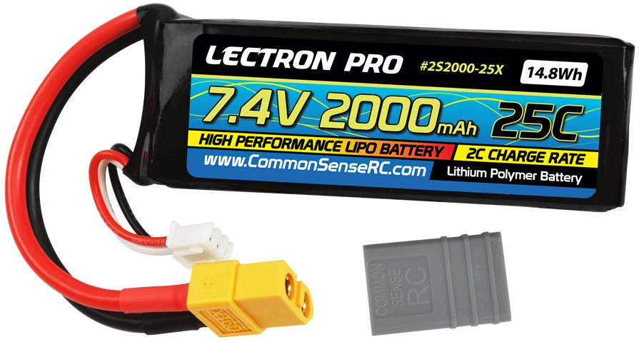 Common Sense RC Lectron Pro 7.4V 2000mAh 25C Lipo Battery with XT60 +  Cdata-url=