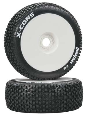 DuraTrax X-Cons 1/8 Buggy Tire C2 Mounted White (2)