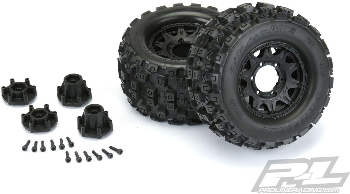 "Proline Badlands Mx28 2.8\"" All Terrain Tires Mounted On Raid Black Wheel"