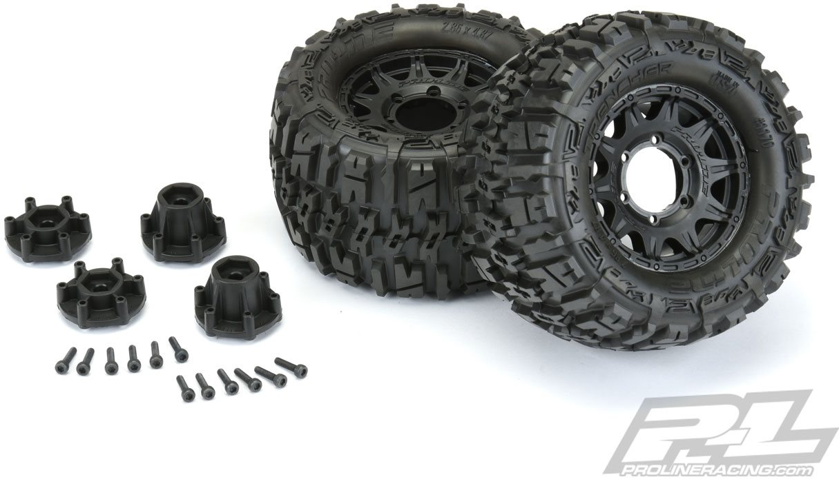 "Proline Trencher 2.8"" All Terrain Tires Mounted On Raid Black Wheels (1"