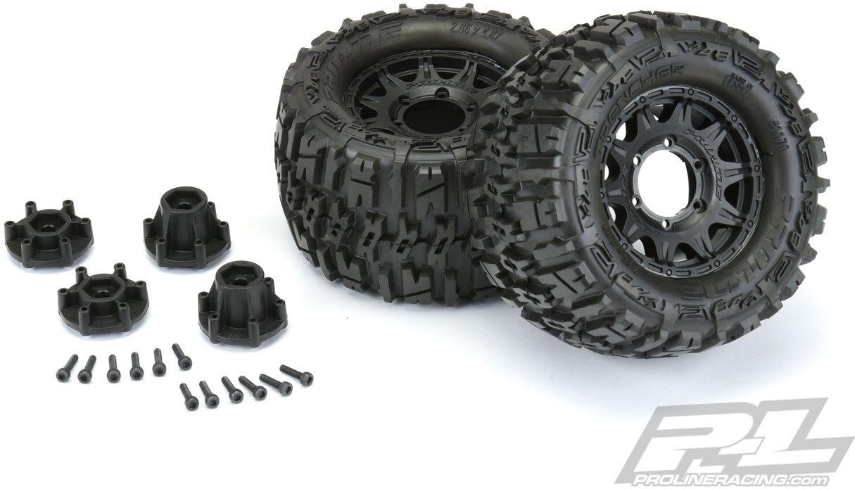 "Proline Trencher 2.8\"" All Terrain Tires Mounted On Raid Black Wheels (1"