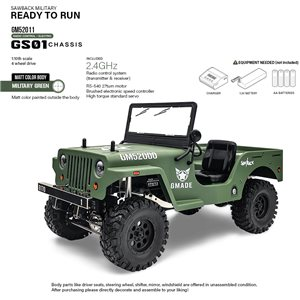 Gmade Military Sawback 4 Ls Rtr Off- Road Vehicle, 1/10Th Scale, W/ A