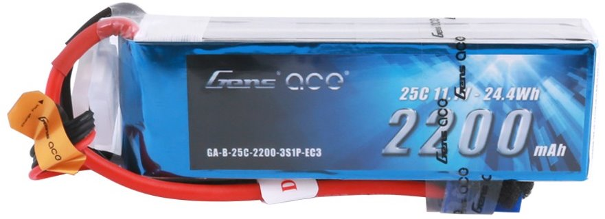 Gens Ace 2200mAh 3S 11.1V 25C Lipo Battery Pack with EC3 Plug for RC Plan