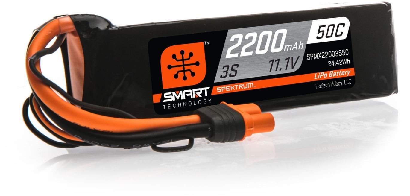 Spektrum 2200mAh 3S 11.1V 50C Smart LiPo Battery; IC3
