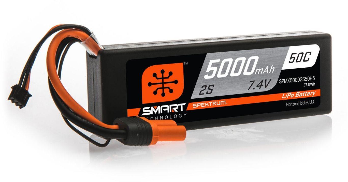 Spektrum 5000mAh 2S 7.4V 50C Smart LiPo Hardcase; IC5
