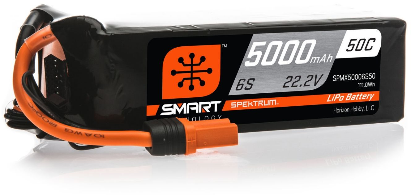 Spektrum 5000mAh 6S 22.2V 50C Smart LiPo Battery; IC5