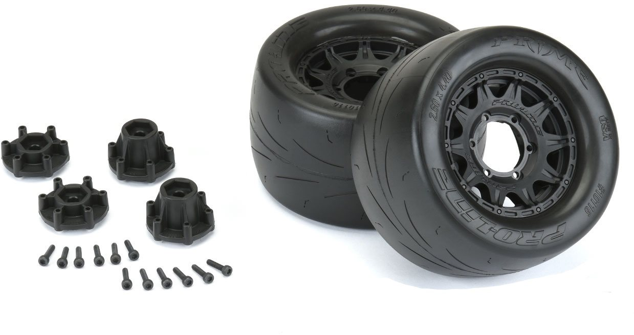 "Proline Prime 2.8"" Street Tires Mounted On Raid Black 6X30 Removable Hex"