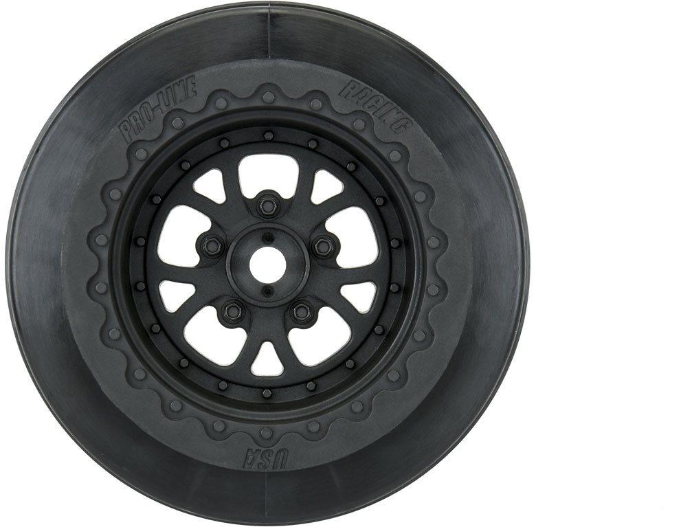 """Proline Pomona Drag Spec 2.2\""""/3.0\"""" Black Wheels (2) For Slash 2Wd Rear &"""