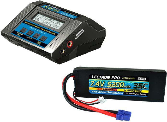 Common Sense RC Power Pack #03 - ACDC-10A Charger + 1 x 7.4V 5200mah 35C w/ EC3