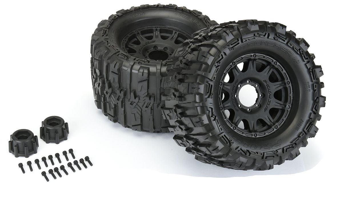"""Proline Trencher Hp 3.8\"""" All Terrain Belted Tires Mounted On Raid Black"""
