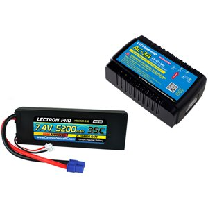 Common Sense RC Power Pack #30 - AC-3A Charger + 1 x 7.4V 5200mah 35C w/ EC3 Con