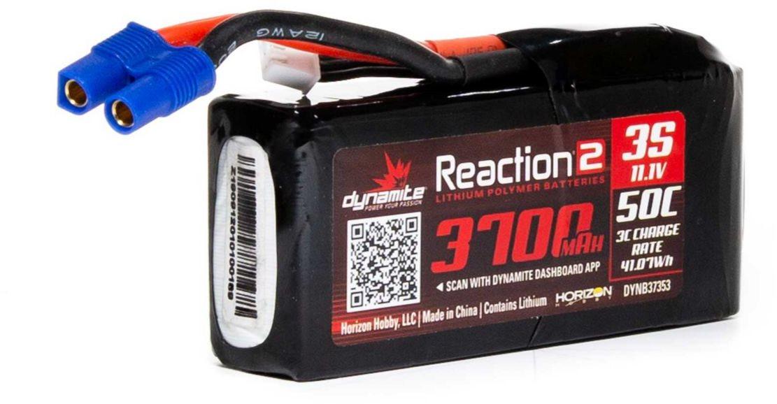 Dynamite Reaction 2 11.1V 3700mAh 3S 50C LiPo Battery, 96mm EC3