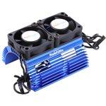 Heat Sink W/ Twin Tornado High Speed Fans, For 1/8 Motors, Blue