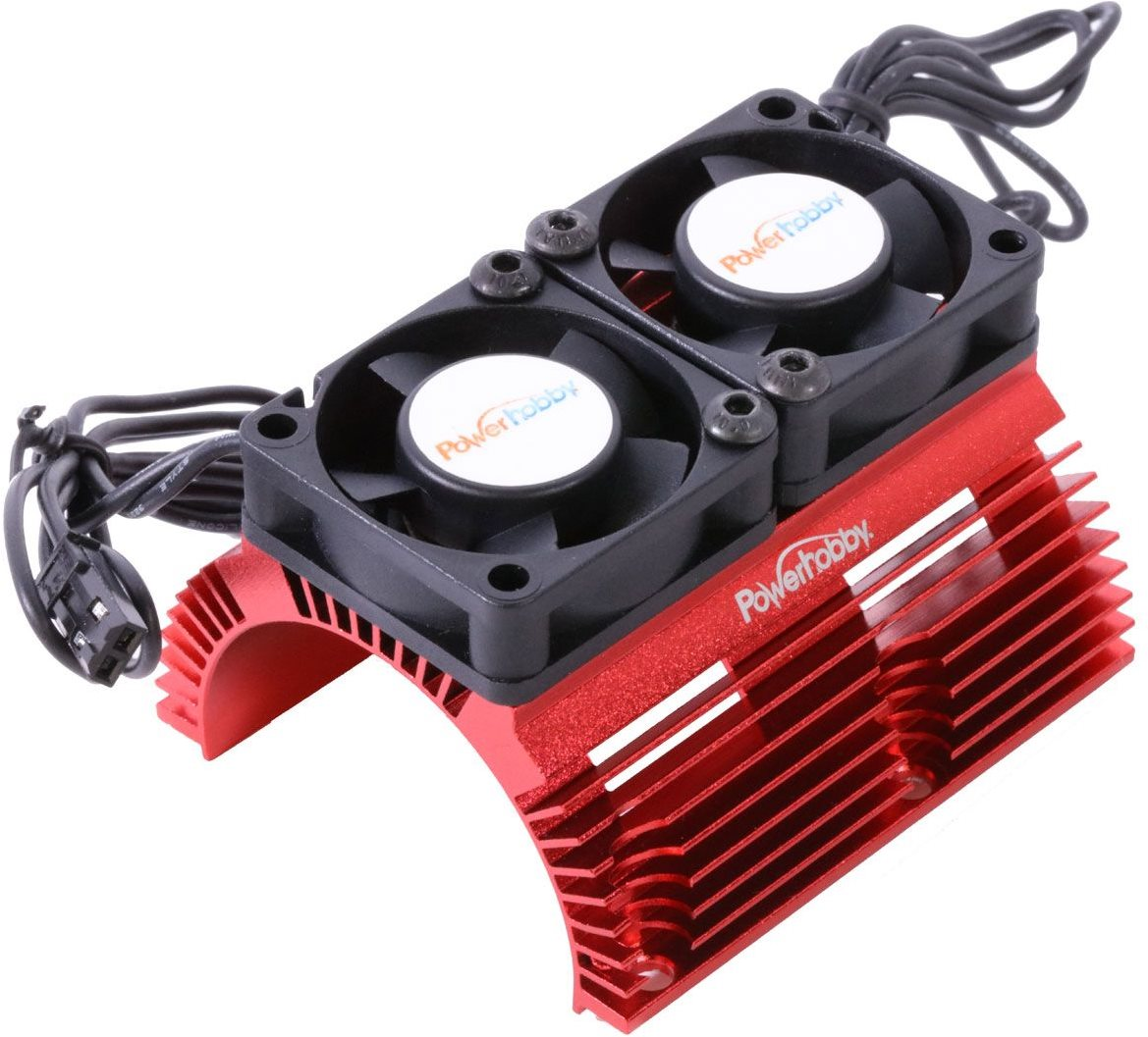 Power Hobby  Heat Sink W/ Twin Tornado High Speed Fans, For 1/8 Motors, Red