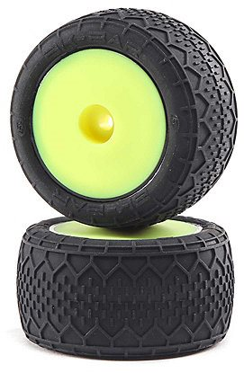 Losi BK Bar Mounted Tires, Front/Rear, Yellow: Mini-T 2.0