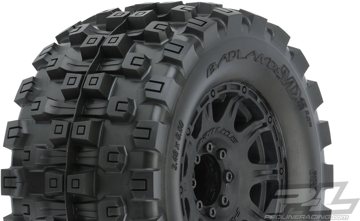 """Proline Badlands Mx38 Hp 3.8\"""" All Terrain Belted Tires, Mounted On Raid"""