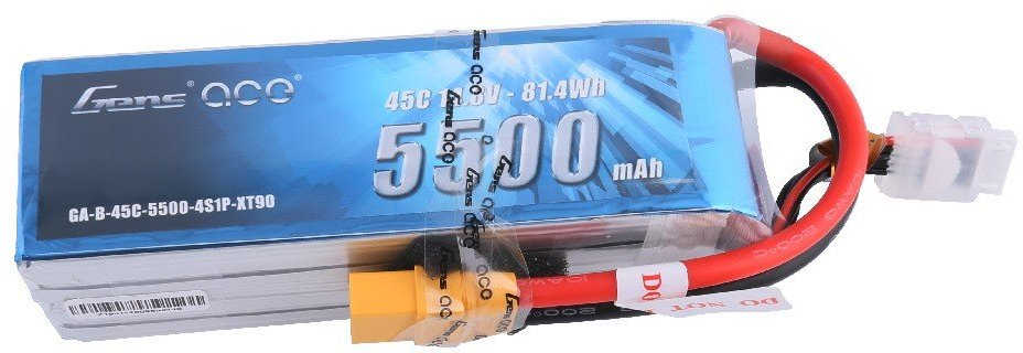 Gens Ace 5500mAh 14.8V 45C 4S1P Lipo Battery Pack with XT90 Plug