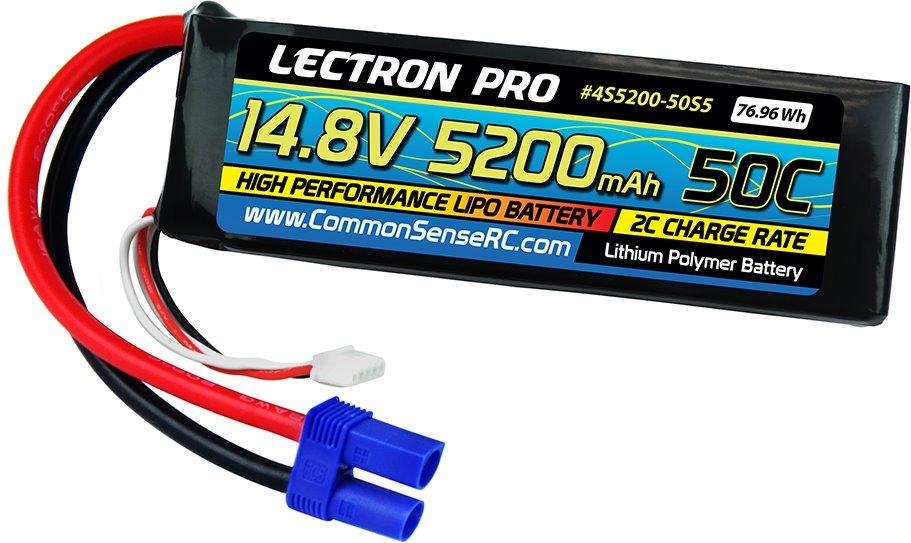 Common Sense RC Lectron Pro 14.8V 5200mAh 50C Lipo Battery Soft Pack with EC5 Co
