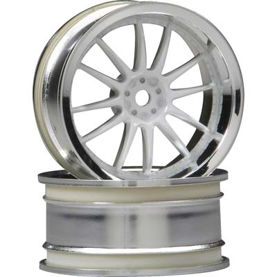 HPI Work XSA Wheel 26mm Chr/Wht 3mm Offset (2)