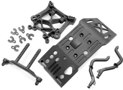 HPI Skid Plate/Body Mount, Savage X Shock Tower Set