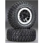 Traxxas Tire/Wheel Assy Glued Split Spoke Black (2)