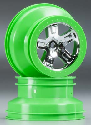 "Traxxas Wheels, Sct, Chrome, Green Beadlock Style, Dual Profile (2.2"" Ou"