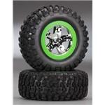 Traxxas Tires/Wheels SCT Chrome Green Beadlock 4WD Fr/Re